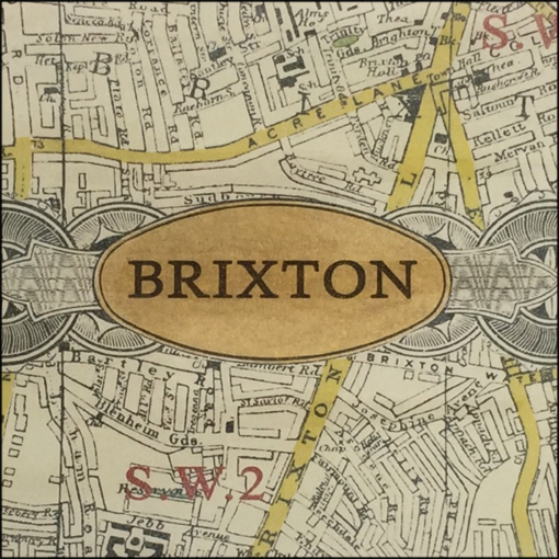 map of brixton decoupage glass dish closeup