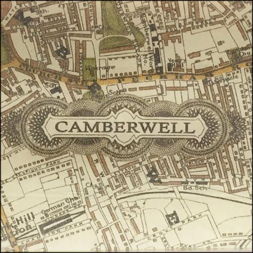 camberwell vintage map decoupage glass dish closeup