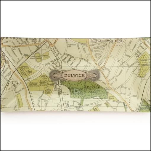 map of dulwich decoupage glass dish