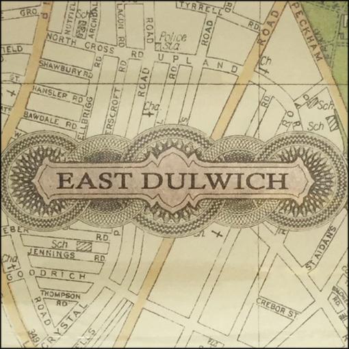 map of east dulwich SE22 decoupage glass dish closeup