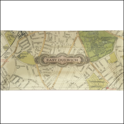 map of east dulwich decoupage glass dish