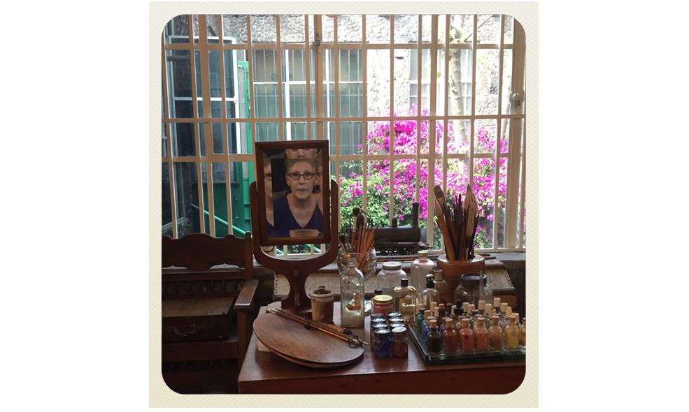 Gabriela at Frida Kalho's studio, casa azul, mexico