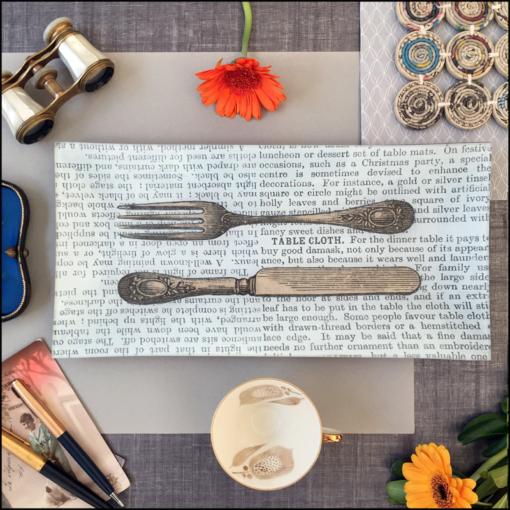 oblong glass dish decoupage vintage knife fork book paper