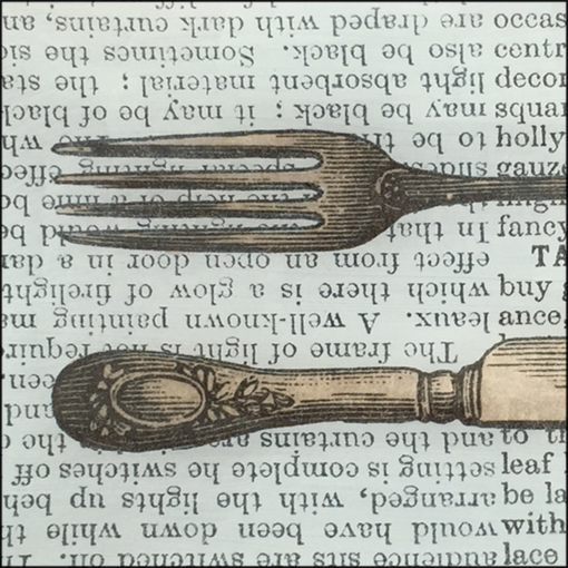 vintage knife fork book paper decoupage glass dish closeup image
