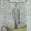 man in suit inside coffee cup book paper decoupage glass dish closeup