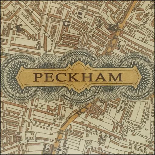 vintage map of peckham decoupage glass dish closeup