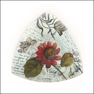 vintage botanical flowers butterflies decoupage dish triangle shape