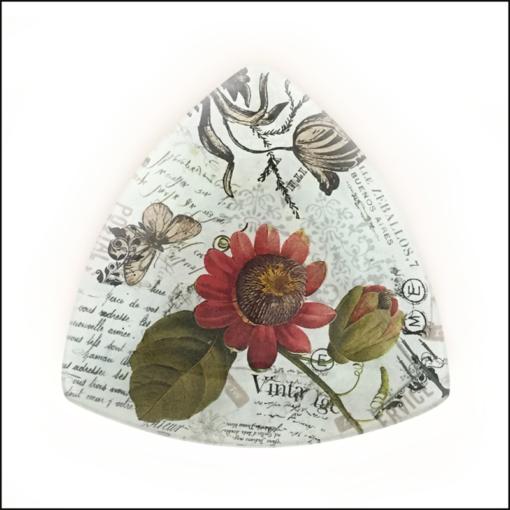 vintage botanical flowers butterflies decoupage dish triangle shape
