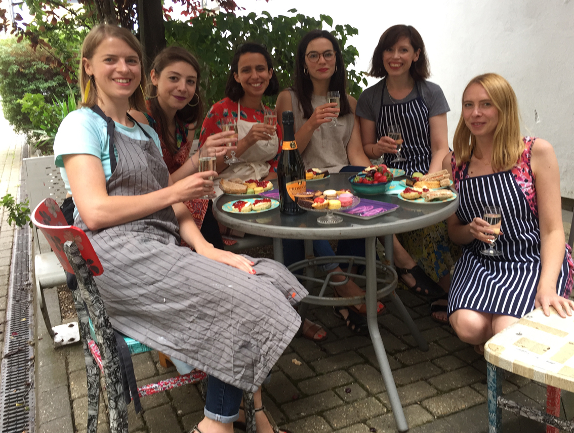 decoupage hen party having prosecco and cake