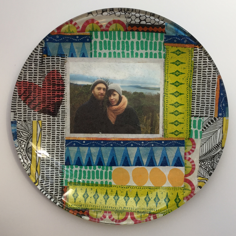 hen party glass plate decoupage Amy