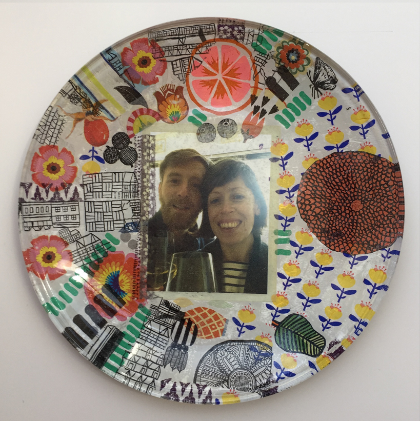hen party glass plate decoupage Despina