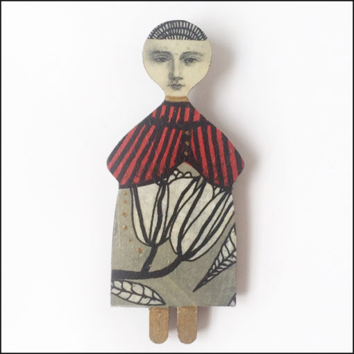 fairy brooch with flowers, red, grey and black, decoupage on wood