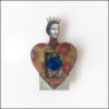 heart-shaped fairy brooch with crown, wood and paper, blue stone
