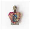 heart-shaped fairy brooch, wood and paper, leaf charm