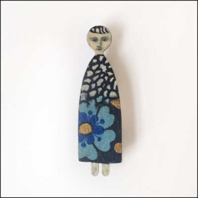 tall and skinny fairy brooch, wood and paper