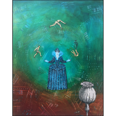 The juggler collage on board, green, blue and brown