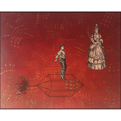 homeward bound, collage on board, woman in 17th century dress, man on propeller, red