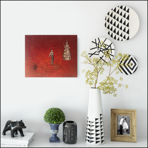 homeward bound, collage on board, red, styled on wall with vases and plates
