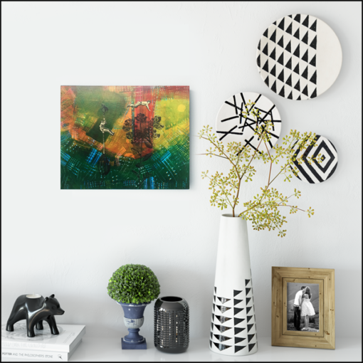 spring is here, collage on board styled on wall with vases and plates