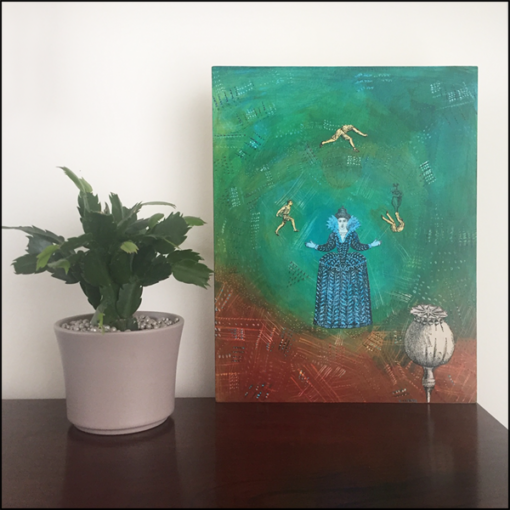 the juggler collage on board styled next to potted plant