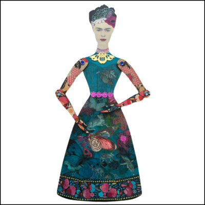 wooden mixed media collage art doll inspired by Frida Kahlo in turquoise dress