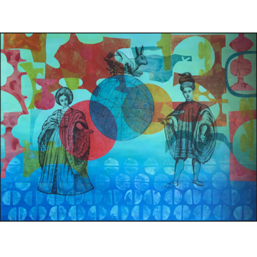 collage on paper once in a blue moon: couple in 17th century dress, circle, hare