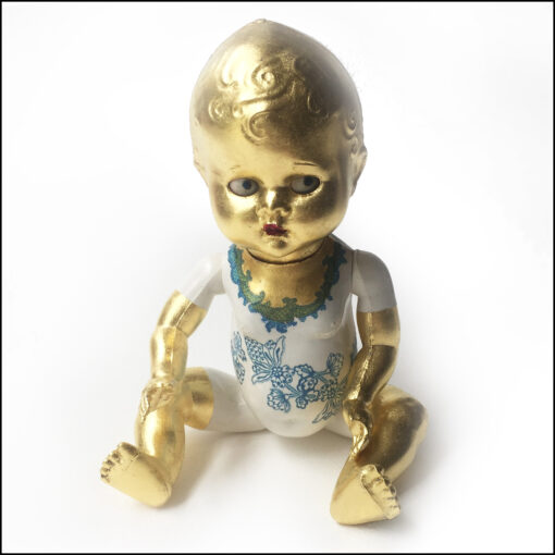 altered vintage doll: painted, decoupaged, gilded with 23 kt gold. Blue motif