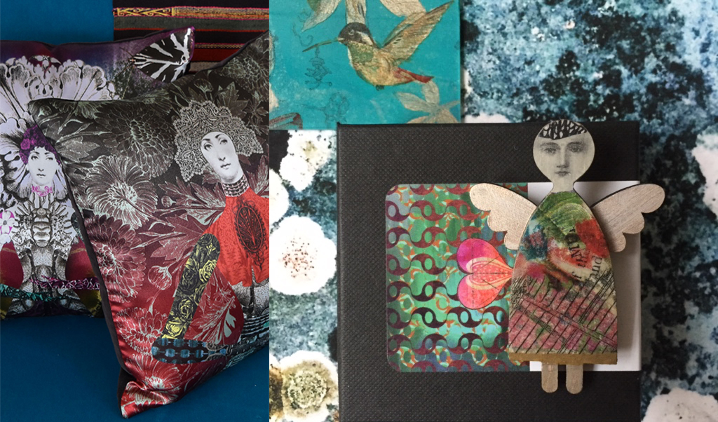 cushions and brooch, open studios winter 2019