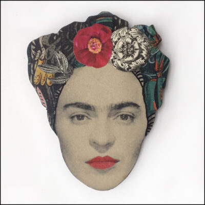 frida kahlo brooch with red flower