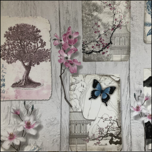 collage kit assorted wallpapers: flowers, animals, travel