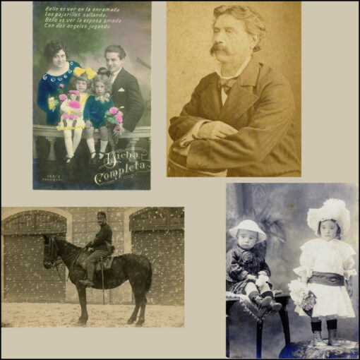collage kit vintage postcards people portraits black and white photos