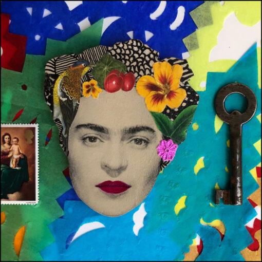 frida Kahlo art brooch pin jewellery original handmade bird and yellow flower