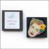 frida kahlo brooch with bird and yellow flower in gift box