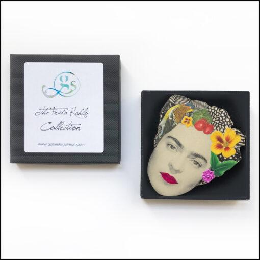 frida Kahlo art brooch pin jewellery original handmade bird and yellow flower presented in black gift box