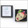 frida kahlo brooch with pink flower and leaves in gift box