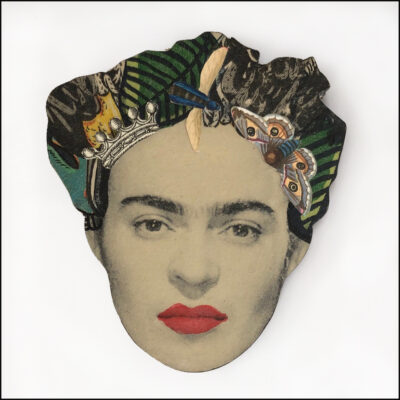 frida kahlo art brooch with green leaves butterflies