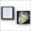 frida kahlo brooch with green leaves butterflies in gift box