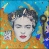 frida kahlo brooch with green leaves butterflies