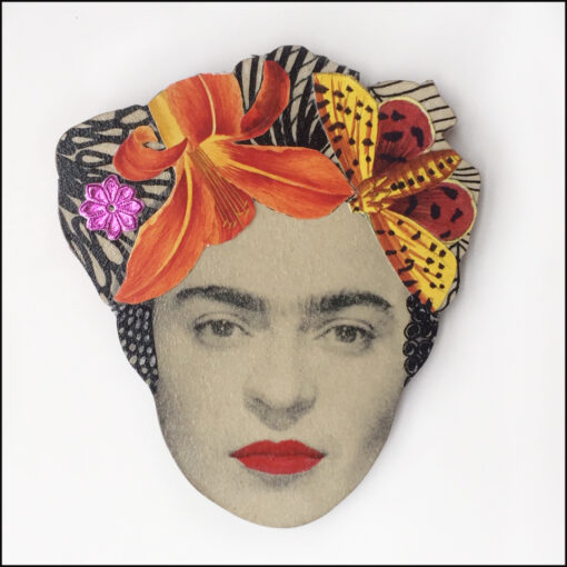 frida kahlo brooch with orange flower and butterfly