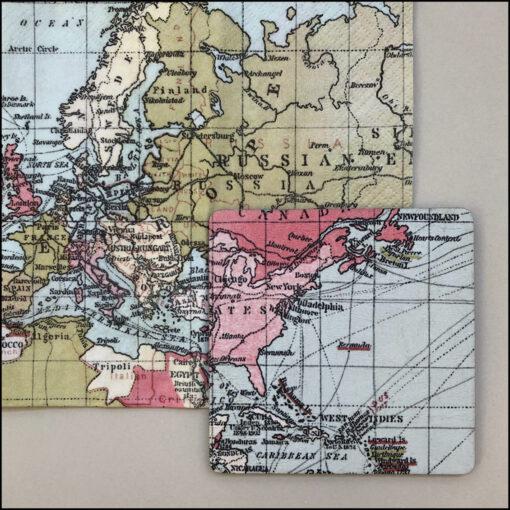decoupage kit 6 coasters world map