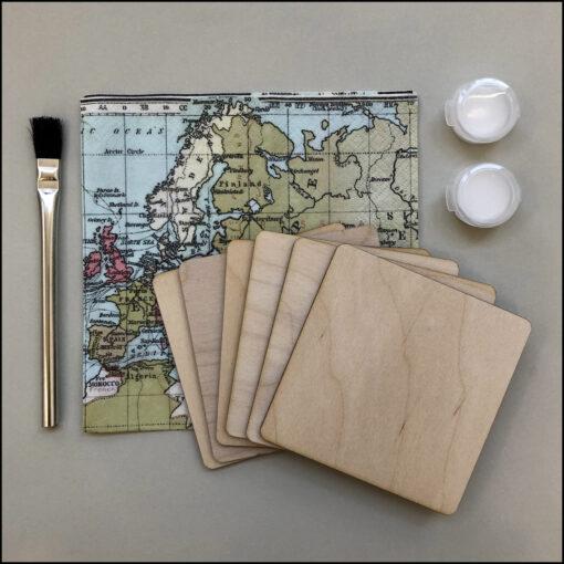 decoupage kit 6 coasters world map brush and glue