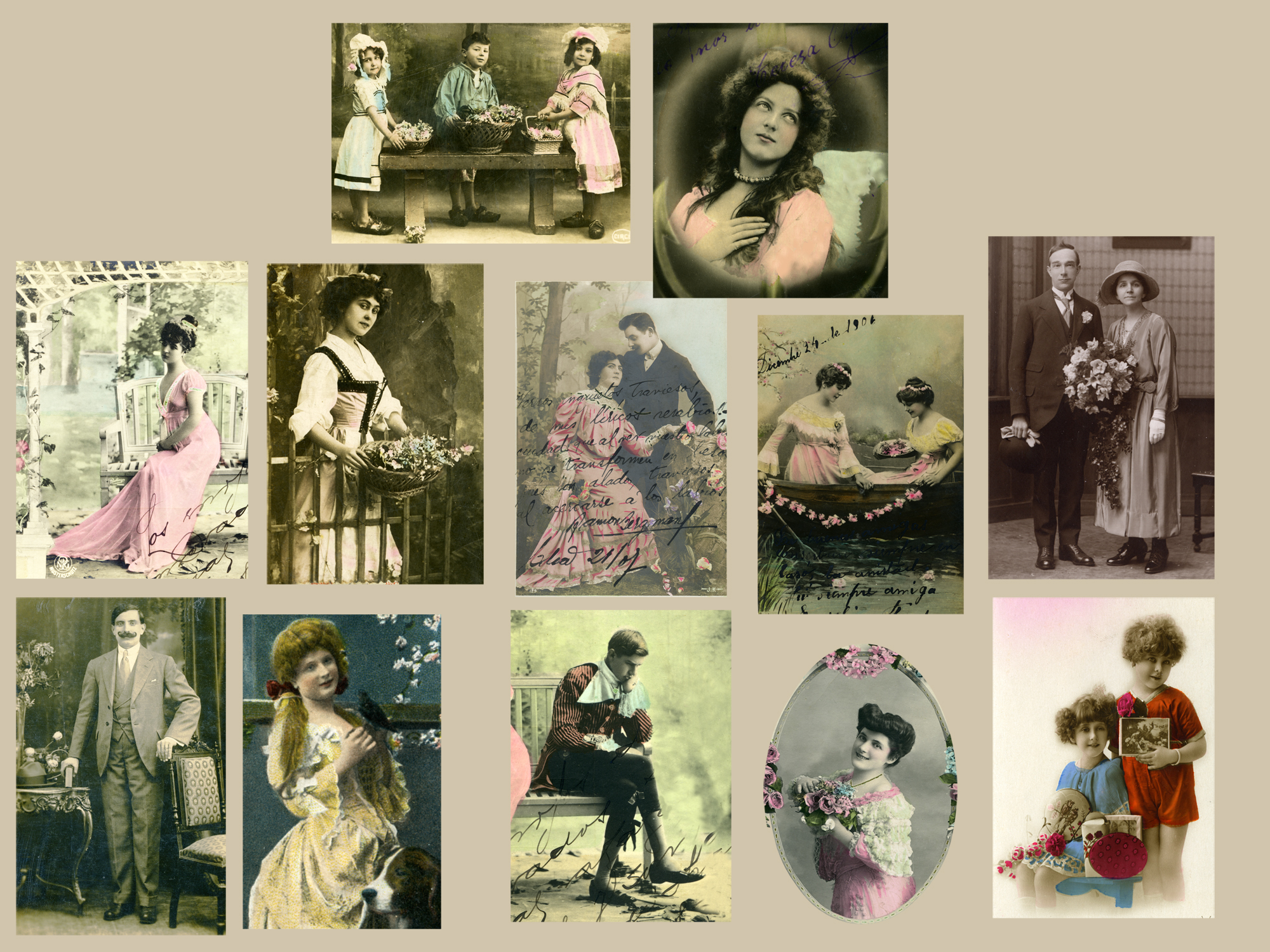 vintage postcards included in collage kits
