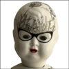 altered vintage doll octopus design, decoupage, 23 ct gold colseup