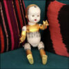 altered vintage doll ceramic, lace desing, oil gilded with 23 ct gold