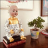 arge altered vintage doll with porcelain head and art deco teacup, decoupage and gilding