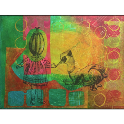 collage on board, bird with animal body, girl with flower head, green yellow turquoise pink