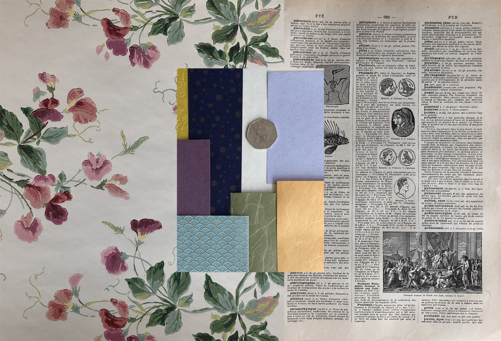 wallpaper washi paper book pages included in collage kits