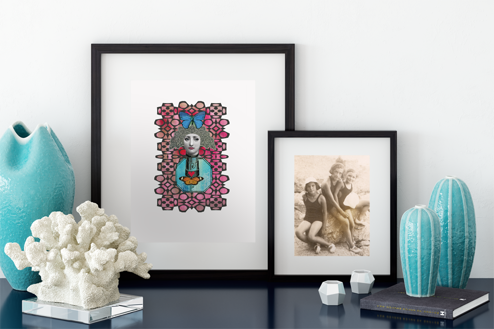 giclee print 'butterfly lady' framed and resting on desk