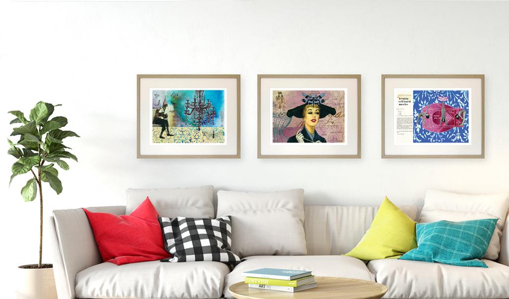 3 giclee prints on living room wall