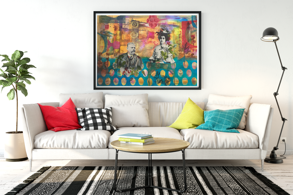 large collage on paper 'Happy anniversary' on living room wall